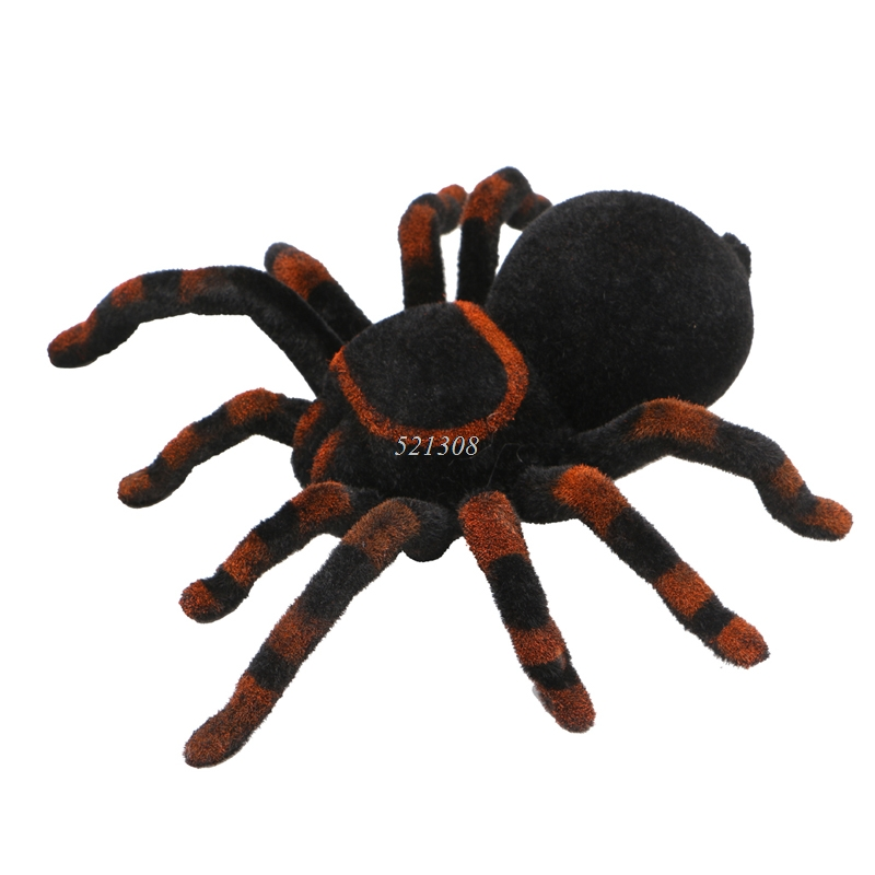 Remote Control Soft Scary Plush Creepy Spider Infrared RC Tarantula Kid Gift Toy MAY16_35 scary lifelike spider toy with squeeze to sound effects