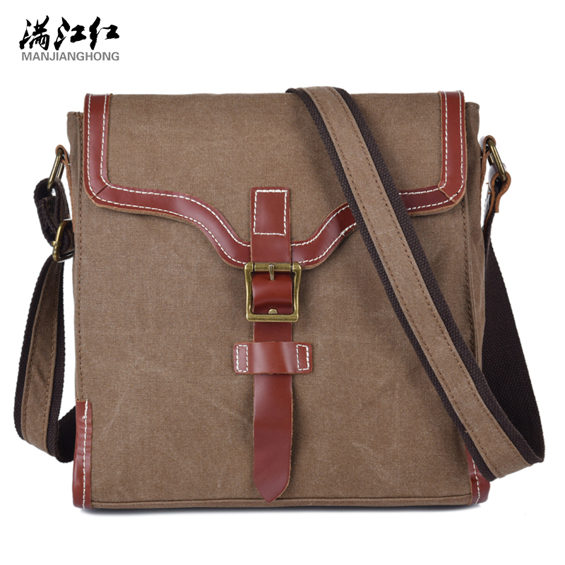 ФОТО Sky fantasy fashion canvas with crazy horse leather vintage vogue hipster classic men messenger casual business cross-body bags