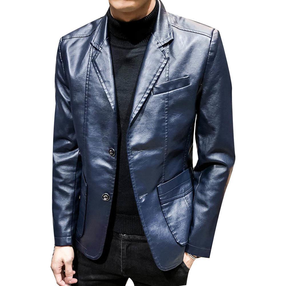 Autumn Winter Men Solid Color Faux Leather Suit Jacket Long Sleeve Lapel Blazer Wholesale