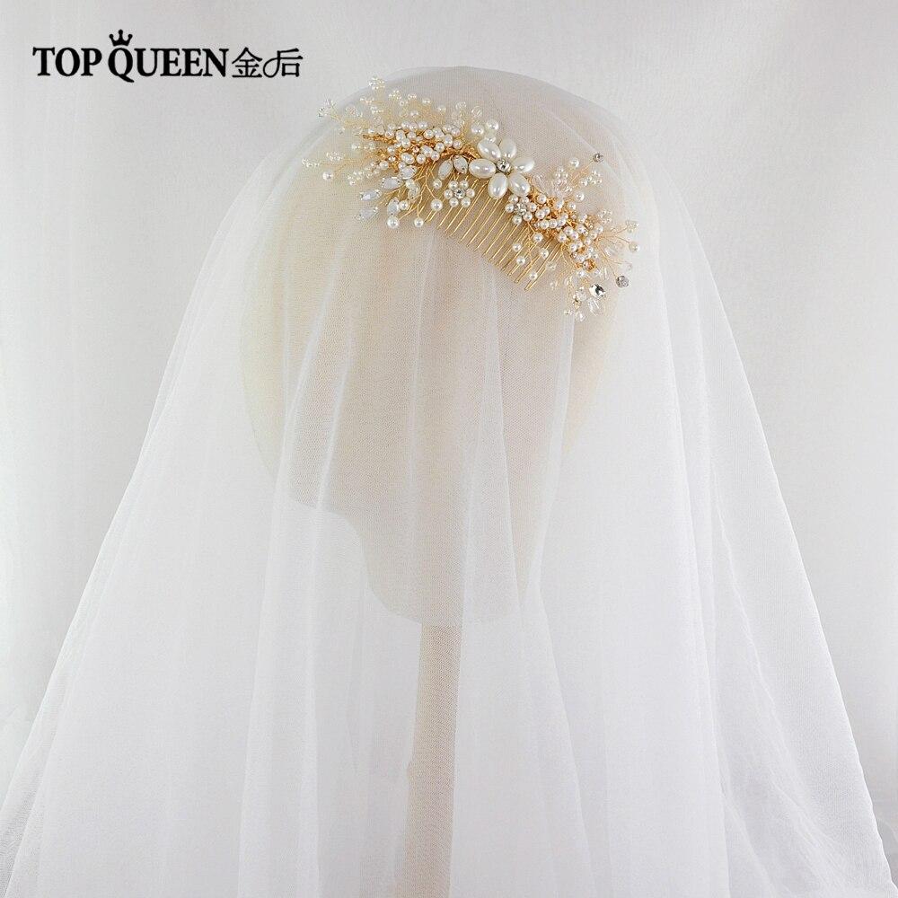 TOPQUEEN HP143 Elegant Wedding Bridal Hair Accessory Crystal And Pearl Beaded Hair Comb Female Hair Clip Pearl Hair Ornaments