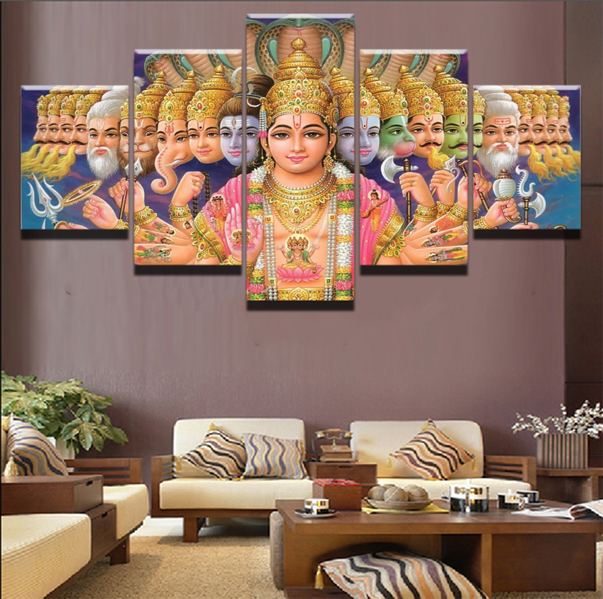 US $5 1 49% OFF|Canvas Paintings Wall Art Prints Framework 5 Pieces Indian  God Shiva Pictures For Living Room Or Bedroom Home Decorative Draw-in