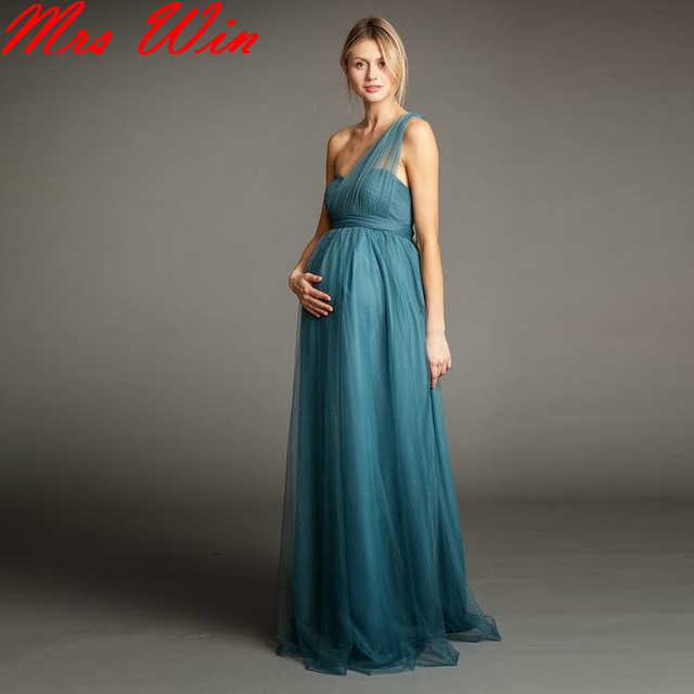 Empire Waist Bridesmaid Dresses | 2017 Ruched Tulle Long Maternity Bridesmaid Dresses For Pregnant