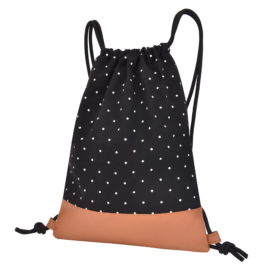 School-Backpacks Canvas Teenagers Travel Casual Fashion Dot Unisex for Polka-Dot Bundle-Rope