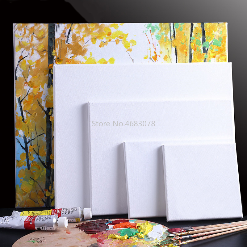 1Piece White Blank Square Artist Canvas For Canvas Oil Painting,Wooden Board Frame For Primed Oil Acrylic Paint image