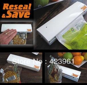 Free shipping! food sealer, Reseal Save Portable Vacuum Sealer Save Airtight Plastic Bag Preserve Food,as seen on TV, 1PC