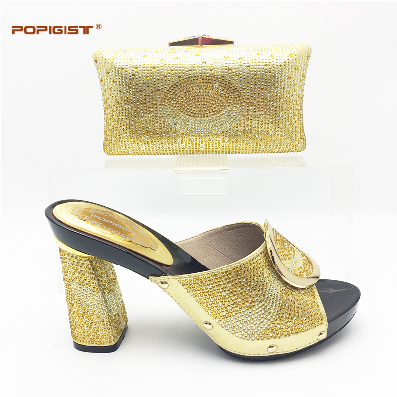 Gold Italian Shoe And Bag Set For Party Rhinestone Evening Shoe African  High Quality Sandal Matching Bags Set 2018 High Quality 51f7011882c6