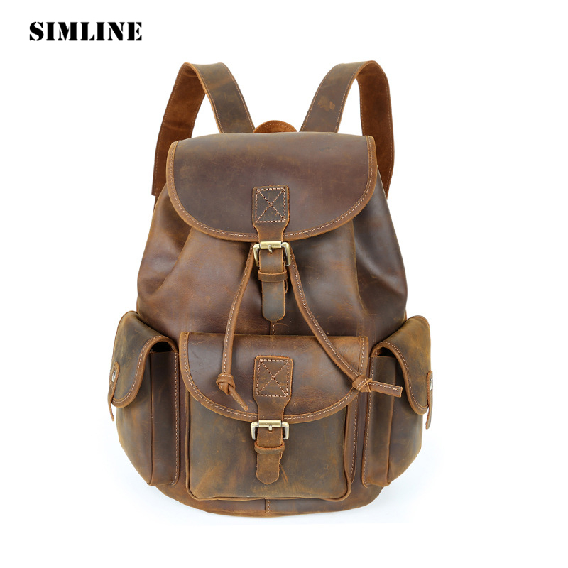 SIMLINE Vintage Casual 100% Crazy Horse Genuine Cow Leather Men Man Large Capacity Backpack Shoulder Bag Bags Backpacks For Male simline vintage casual crazy horse genuine leather real cowhide men men s travel backpack backpacks shoulder bag bags for man