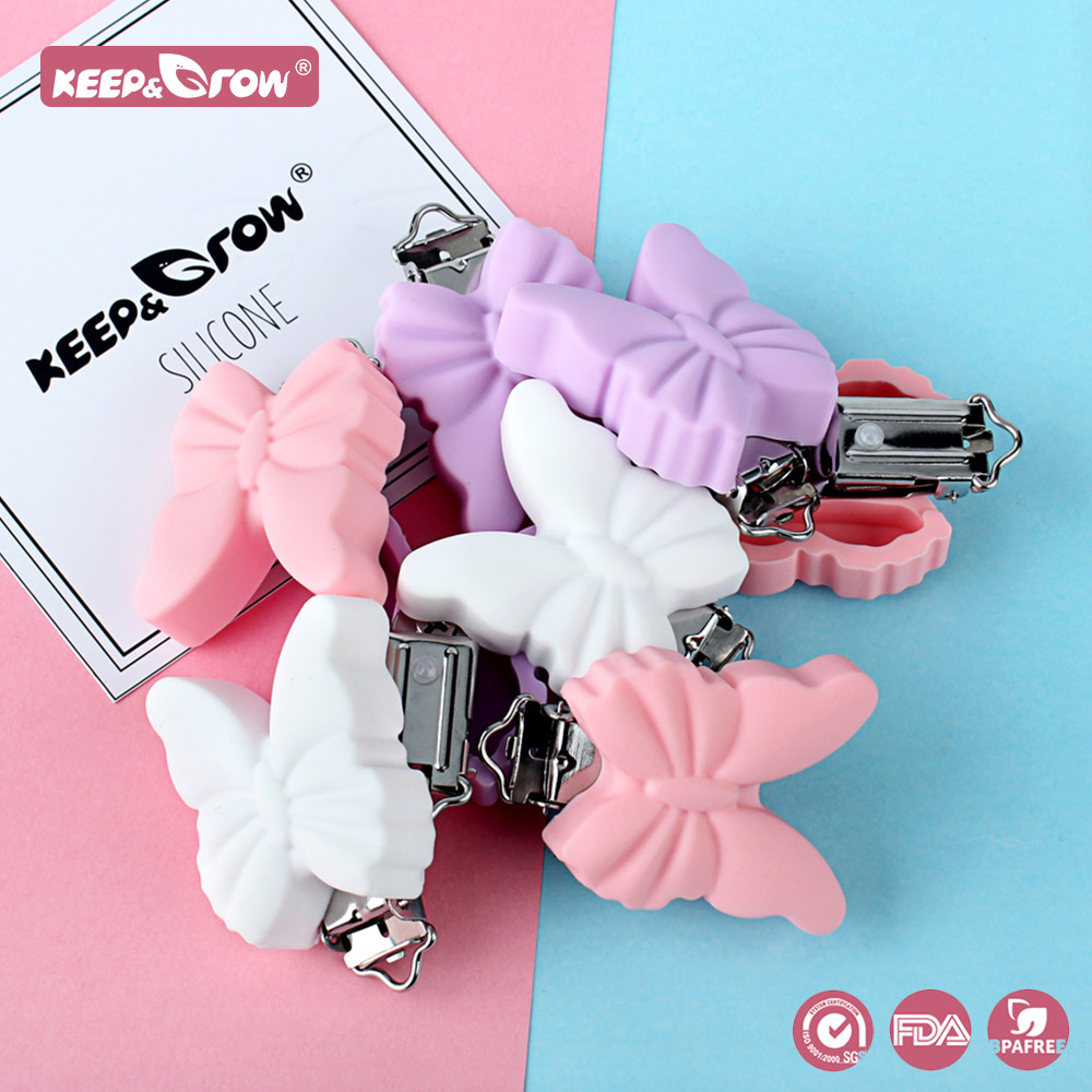Keep&Grow 3Pcs Butterfly Silicone Pacifier Clips Holder Baby Teething Toys DIY Nipple Chain Accessories  BPA Free Baby Teethers