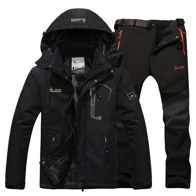 3d6ea7c597 ... Winter Ski Jacket suits Men Waterproof Fleece Snow Jacket Thermal Coat  Outdoor Mountain Skiing Snowboard Jacket ...