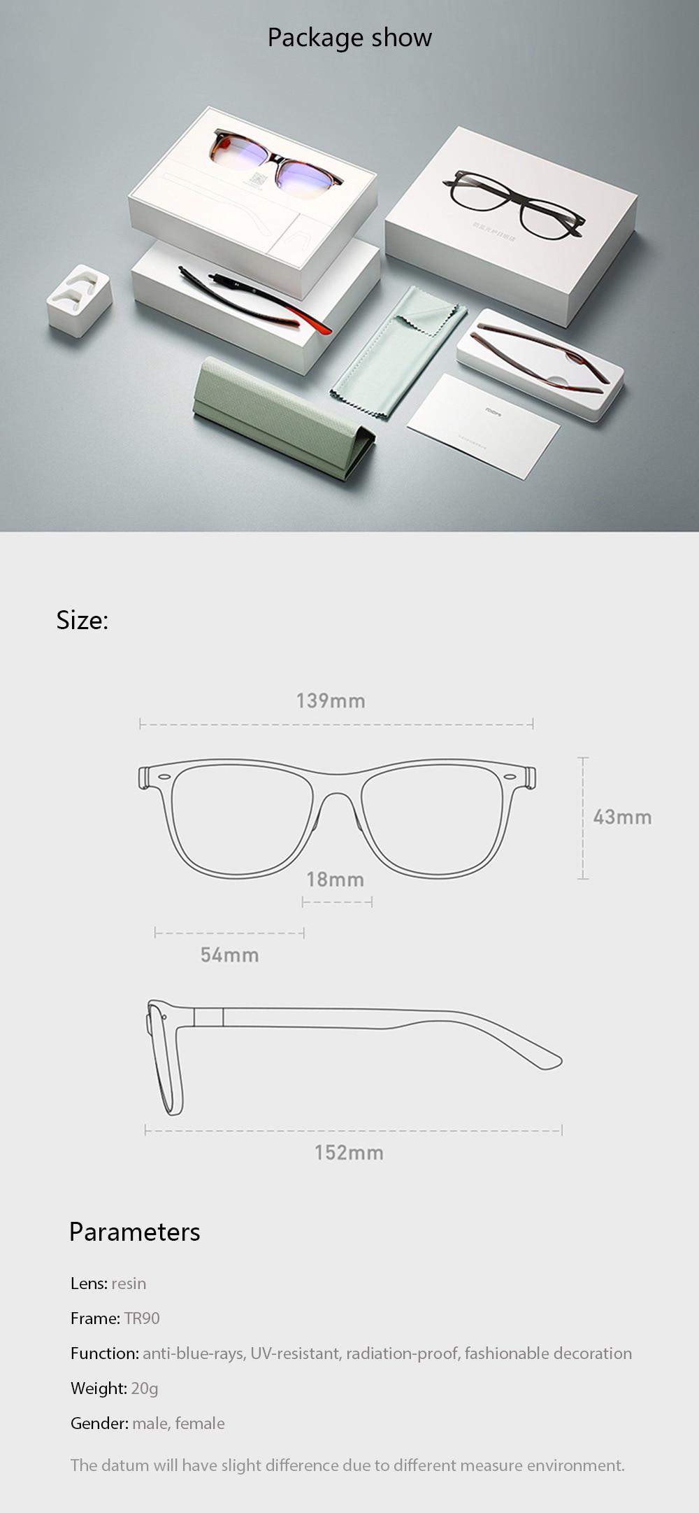 Original Xiaomi B1 ROIDMI Detachable Anti-blue-rays Protective Glasses Eye Protector For Man Woman Play Phone/Computer/Games