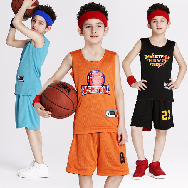 f614d6b35357 Reversible Boy s Basketball Jersey Shirt and Shorts Sets Sport Team  Training Uniform Clothing Custom Name and Number (10 Colors)