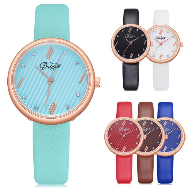 DUOYA Fashion Women Chic Artificial Diamond Colorful Rounded Analog Pointer women Watch Alloy ladies Quartz wristwatch 2019 30Q
