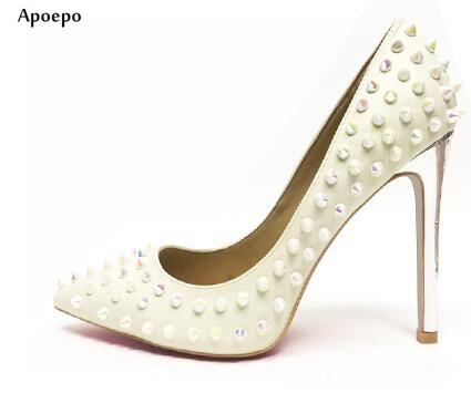 New Hot Selling White Leather High Heel Shoes 2018 Sexy Pointed Toe Rivets Studded Woman Pumps Slip-on Wedding Dress Shoe sequined high heel stilettos wedding bridal pumps shoes womens pointed toe 12cm high heel slip on sequins wedding shoes pumps