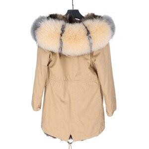 Image 2 - Maomaokong 2020新暖かい冬の女性のコート自然アライグマの毛皮のライニングジャケットリアルフォックス毛皮の襟ロングパーカージャケット
