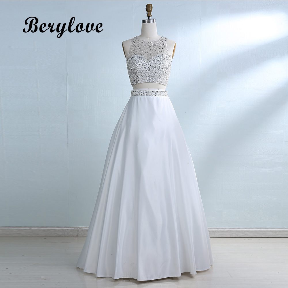 BeryLove Ball Gown Two Pieces White Prom Dresses Styles Beaded Satin ...
