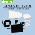 Gain 65dB  signal amplifier CDMA 850mhz & 3g HSPA UMTS WCDMA 2100mhz Dual band mobile signal booster full set with antenna