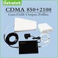 Ganho de 65dB amplificador de sinal CDMA 850 mhz & 3g UMTS HSPA WCDMA 2100 mhz Dual band sinal móvel impulsionador conjunto completo com antena