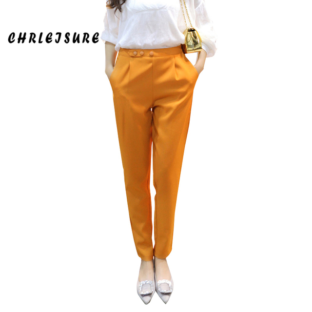 S-2XL 4Colors Women's Pants And Capris Fashion OL Style Spring Harem Pants Botton High Waist Plus Size Chiffon Trouser Wom