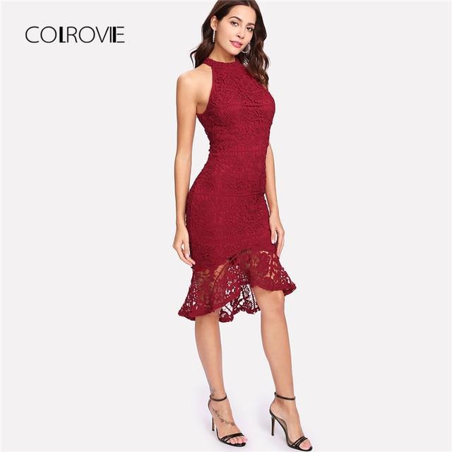 8de9391ddec COLROVIE Ruffle Dip Hem Fitted Lace Party Dress 2018 New Summer Sleeveless Women  Dress Burgundy Knee Length Halter Sexy Dress