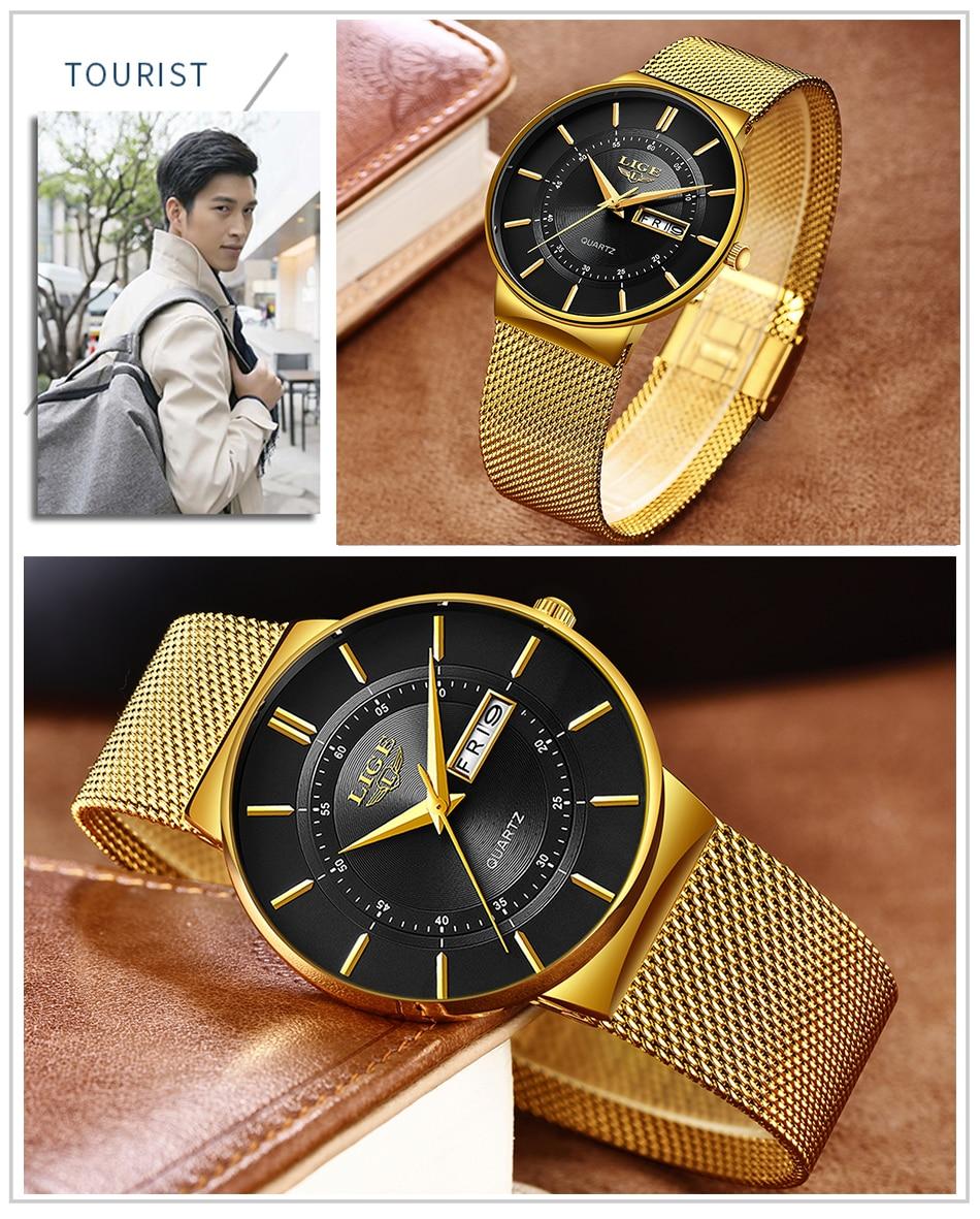 HTB1MD0Rd8Cw3KVjSZR0q6zcUpXar Relogio Masculino 2019 LIGE New Mens Watches Top Brand Luxury Ultra Thin Quartz Watch Men Steel Mesh Strap Waterproof Gold Watch