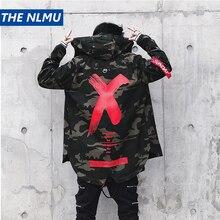 Chaqueta de camuflaje para hombre, chaqueta con estampado X, abrigo de algodón rompevientos de moda, capucha para hombre, ropa informal estilo Hip Hop WJ030