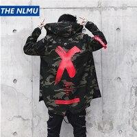 Mens Jacket High Street Spring Men Camouflage X Print Jackets Fashion Cotton Windbreaker Coat Male Hood Hip Hop Streetwear WJ030