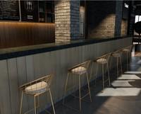 Nordic кованого железа бар барный стул творческий home bar Мебель кофе обеденный стул