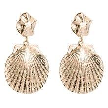 2019 New Luxury ZA Designer Brand Gold Colors Big Shell Drop Earrings For Women Jewelry Geometric Alloy Dangle