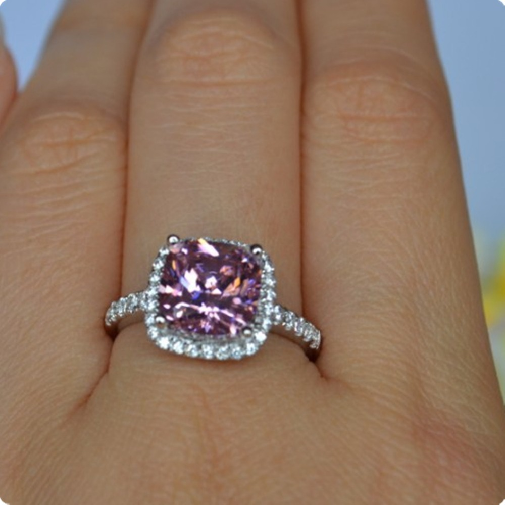 gift engagement solid ring gold her rings shape item princess jewellery from for synthetic pink simulate carat xms cushion white bridal diamond best jewelry in