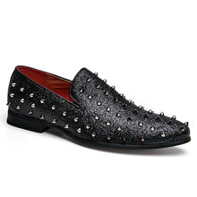 Party Night Club Shoes Fashion Rivet PU Leather Loafers Rock Punk New 2019  Men s Flats Casual Moccasins Pointed Toe Black Gray bf55c6fc8cb2