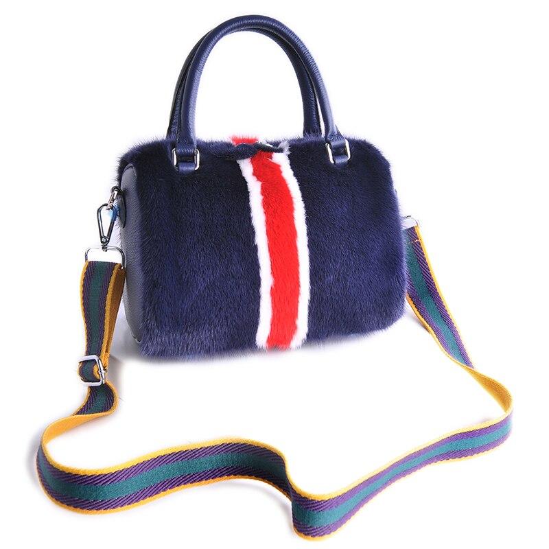 2018 Women Luxury Genuine Mink Fur Handbag Blue Classic Real Fur Bags Lady Super Fashion Mink Bags