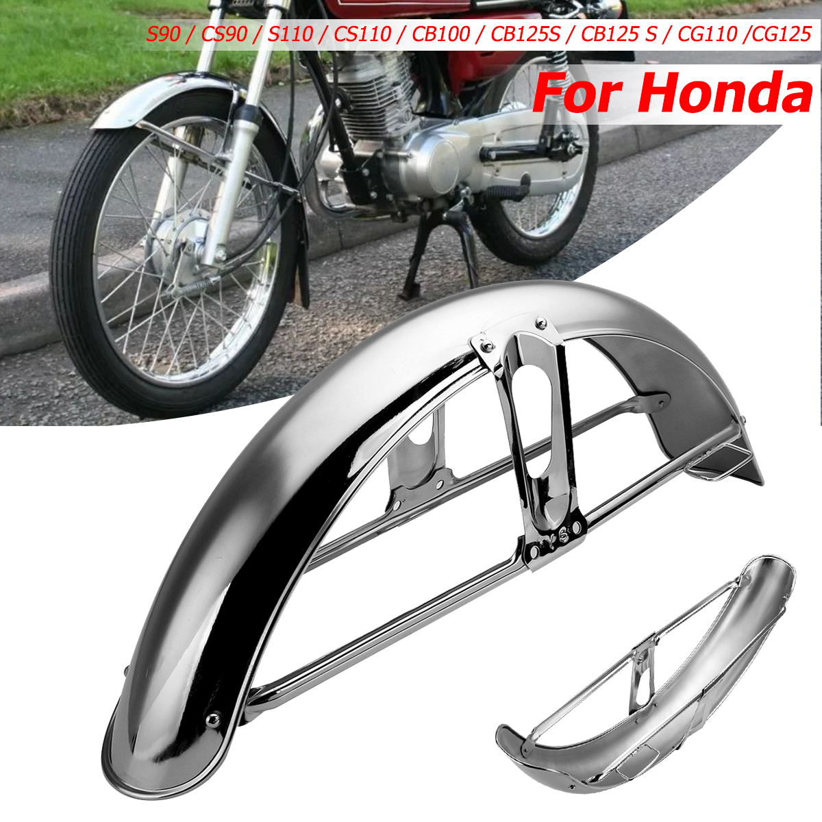 купить Motorcycle Front Fender Mud Flap Mudguard Splash Guard Mudflap For Honda S90/CS90/S110/CS110/CB100 по цене 1987.57 рублей