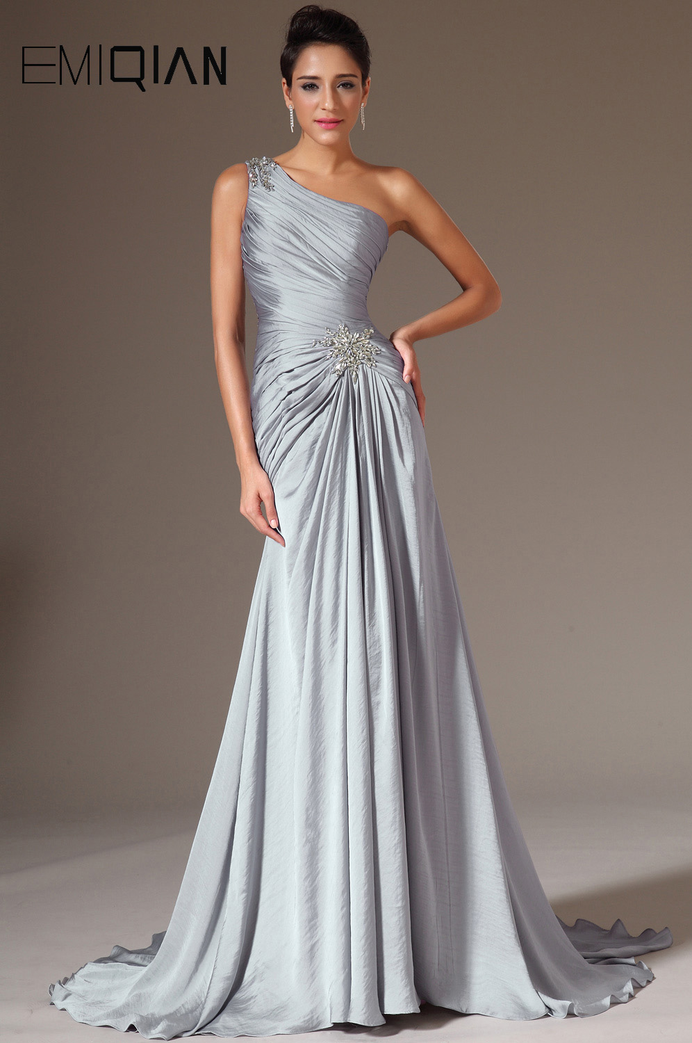Freeshipping New Stylish One Shoulder Gray Chiffon   Evening   Gown   Evening     Dresses