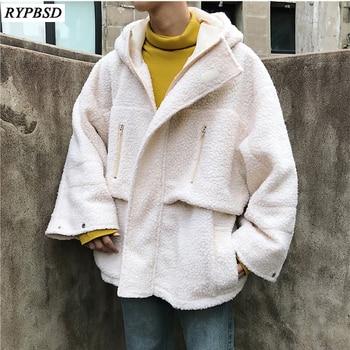 Autumn Winter New 2019 Wool Lamb Coat Jacket Hooded Thicken High Quality Loose Couple Cotton Zipper Woolen Winter Coat