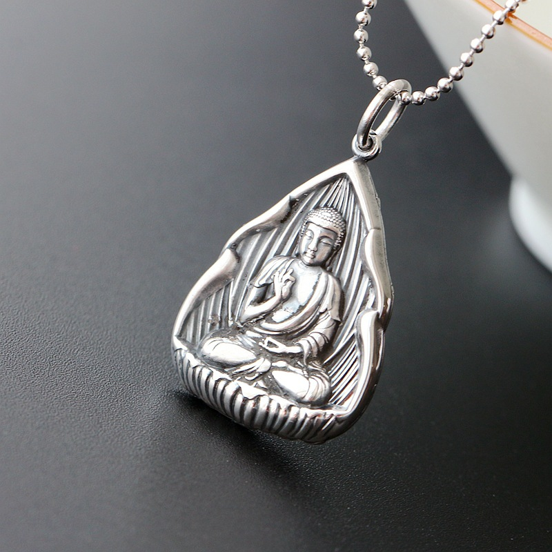 Retro Thai Silver Jewelry Wholesale S925 Sterling Silver Pendant Mantra Buddha Pendants Men And Women