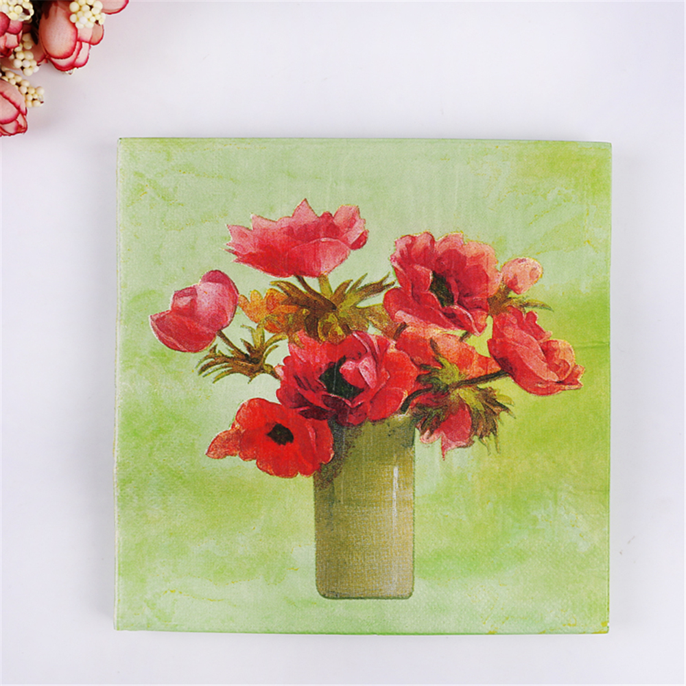 Floral table paper napkin tissue folding printed flower vase floral table paper napkin tissue folding printed flower vase decoupage vintage oils art wedding party decoration happy birthday in disposable party reviewsmspy