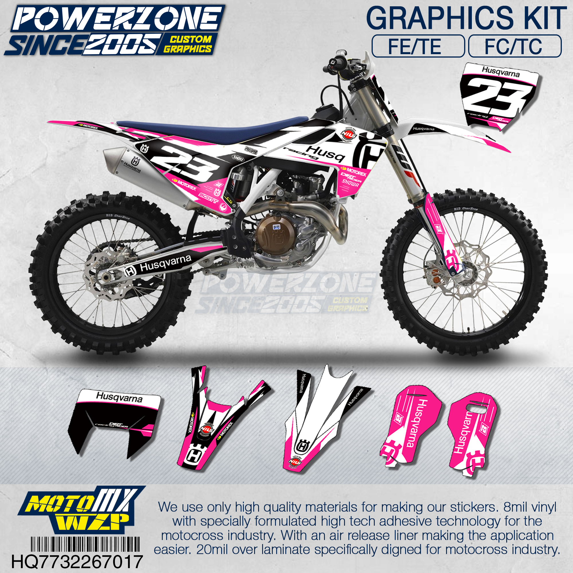 Customized Team Graphics Backgrounds Decals 3M Custom Stickers Pink Kit For Husqvarna 2014 17 18 FE