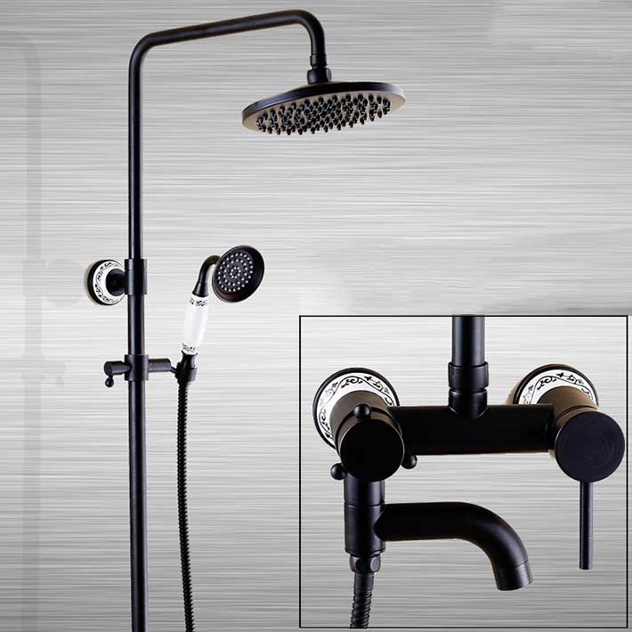 Wall mounted Oil Rubbed Bronze Bath 8-inch Rainfall Shower Faucet Set Tub Mixer Tap with Hand Spray tap bathroom