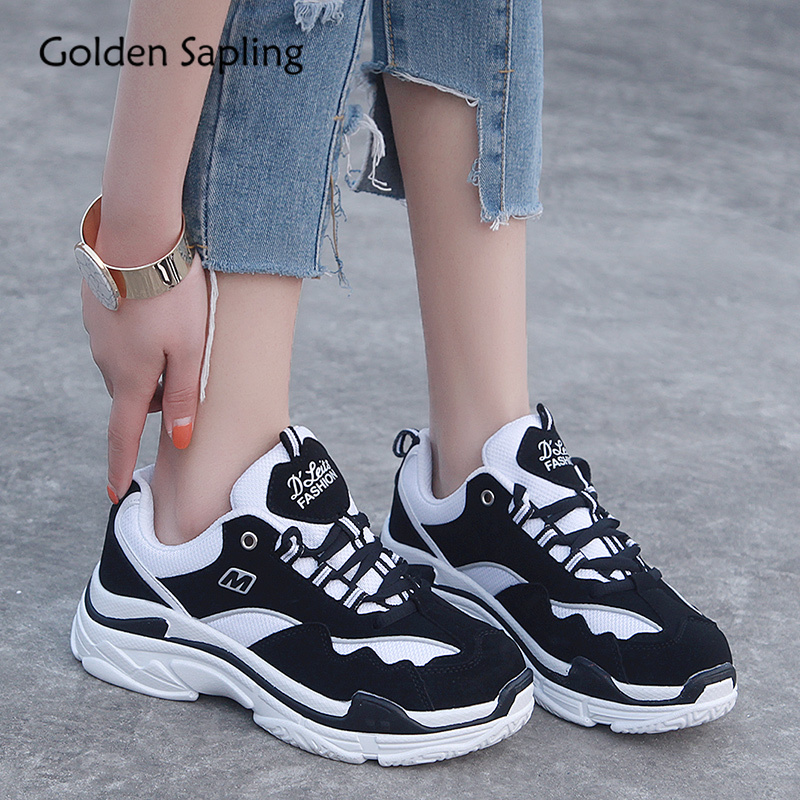 Golden Sapling Platform Sneakers Women Running Shoes Retro Air Mesh Fabric Breathable Sneakers for Woman New