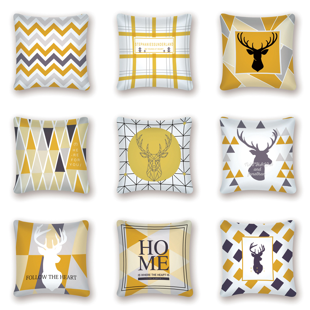 Geometric Yellow Cushion Cover Decorative Pillows Nordic Decoration Home Scandinavian Deer Wave Pillow Cover Cojin Nordico