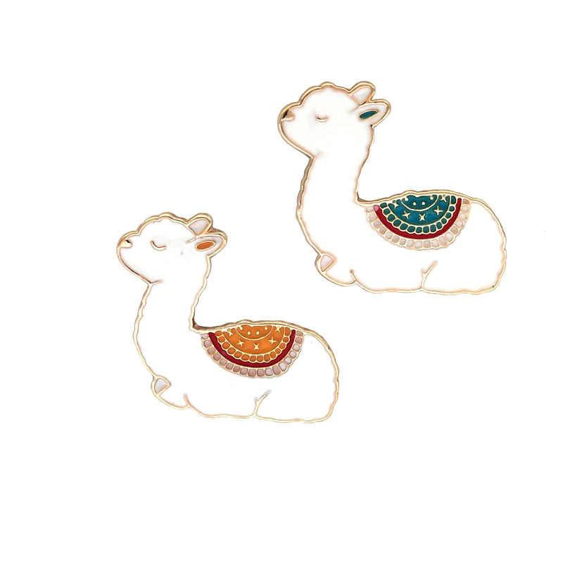 SUKI 1 Llama chân Lama Glama Alpaca Dễ Thương Kawaii Động Vật Chân Cứng Men Lưng Chân Xòe Nữ Cô Gái huy Hiệu