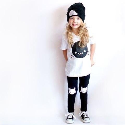 Children Suit Summer 100% Cotton Short Sleeve T-shirt + Pants Cute Casual Boys and Girls Cartoon Cat Tops T-shirt Clothing Sets