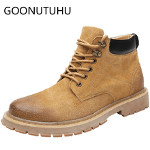 Men's boots casual genuine leather military shoes male autumn winter plush combat ankle boot man work safety army boots for men недорого