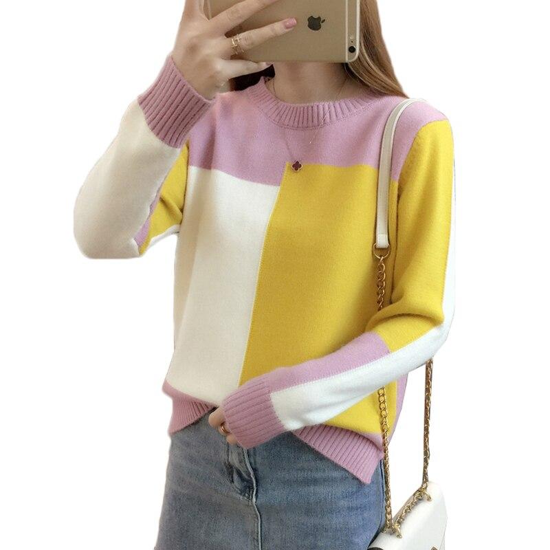 Primavera Outono Mulheres Camisola do Pulôver 2019 Nova Moda Colorblock O-pescoço Solto Inferior Malha Camisola tamanho Grande Roupas Femininas 230