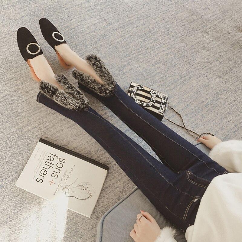 ФОТО Fashion Faux Fur Split Flare Jeans Female Boot Cut Fur Jeans Bell Bottom Denim Trousers Ankle Length Denim Pants