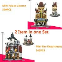 Sembo 2 Sztuk/zestaw Ulicy Widok City Building Block Zabawki Mini Kino & Fire Department Kompatybilny Z Legoe Pałac Miasta ninjago zabawki
