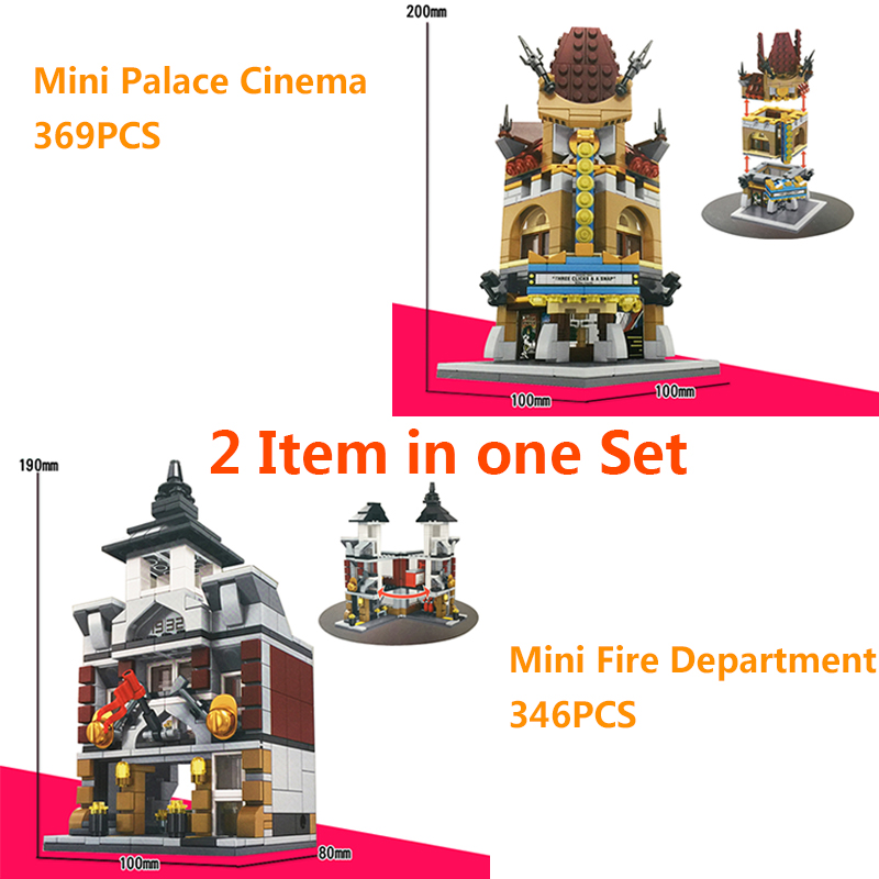 Sembo 2PCS/Set Street View Building Block City Toys Mini Palace Cinema & Fire Department Compatible With Legoe City ninjago Toys decool 3114 city creator 3in1 vehicle transporter building block 264pcs diy educational toys for children compatible legoe