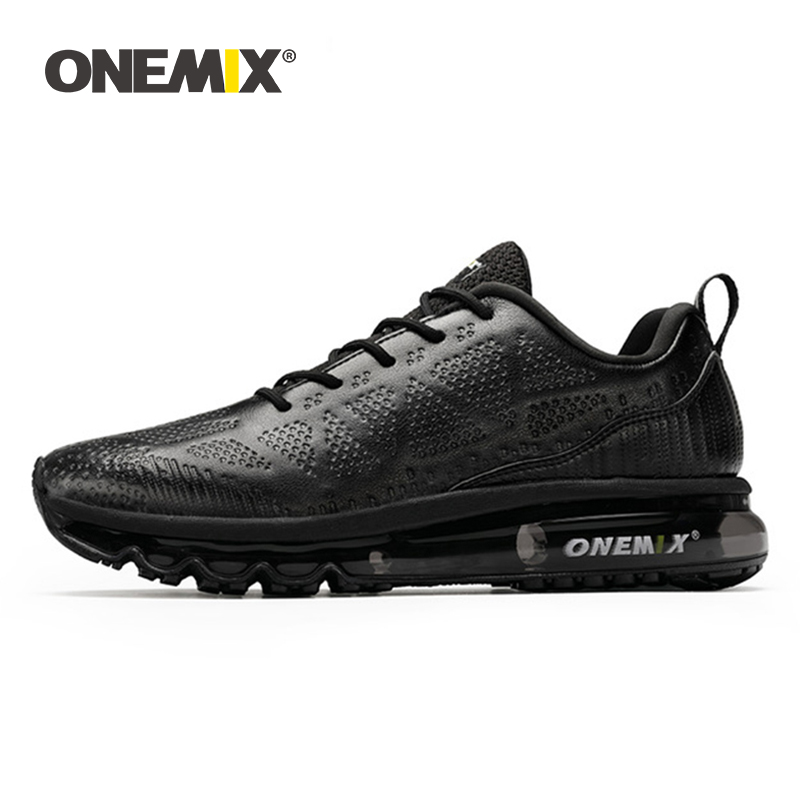 ONEMIX Men Running Shoes Waterproof Leather Outdoor Sports Shoes Shock Absorption Air Cushion Male Walking Sneakers Size EU39-47