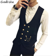 2018 Mens vests And waistcoats Slim Fit Masculino Cotton Double Breasted Sleeveless Jacket Waistcoat Suit Collar Men Suit Vest(China)