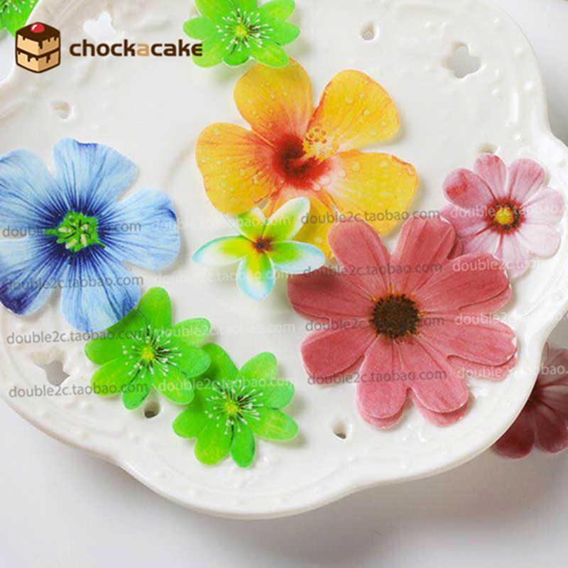 เอดดัลไวส์ดอกไม้สำหรับตกแต่งเค้ก, 37 pcs เวเฟอร์เค้กดอกไม้ไอเดียตกแต่ง, กระดาษกินได้สำหรับ cupcake ตกแต่ง